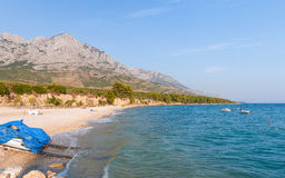 Beach and mountains in Baska Voda Stock Photo