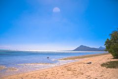 Beach and Mountains of Mauritius stock image