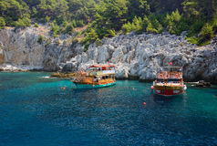 Beach and mountains near Alanya, Turkey stock image