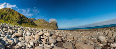 Beach and mountains at Unstad, Lofoten Norway Stock Photography