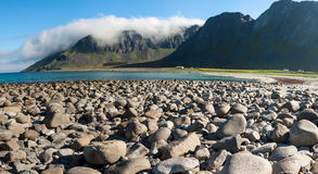 Beach and mountains at Unstad, Lofoten Norway Stock Photos