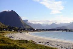 Beach and mountais. Ramberg Beach in the Lofoten Islands, Norway stock photos