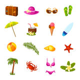 Beach multicolored icons set Stock Image