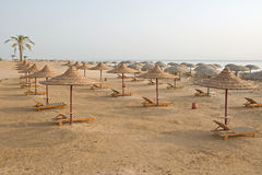 Beach with multiple empty huts, Red Sea, Egypt Stock Photo