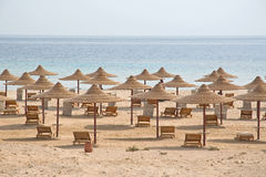 Beach with multiple empty huts, Red Sea, Egypt Royalty Free Stock Photo