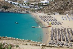 Beach on Mykonos island Stock Photo