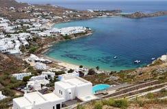 Beach at Mykonos island in Greece. Platis gialos and the famous Psarou beach at Mykonos island in Greece Stock Photography