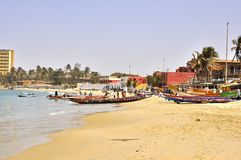Beach of N'gor, Senegal. N'Gor Beach and the boat (Pirog) to Isle N'Gor.Dakar's main beaches include the Plage Bel-Air and the N'Gor and Yoff Stock Photos