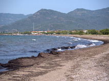 Beach at Nature Reserve at Skala Kalloni Lesvos Greece. The Greek Island of Lesvos or Lesbos is situated just off the Coast of Turkey. The island is the 3rd Stock Image