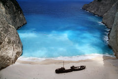 Beach Navagio in Zakynthos Stock Image