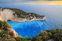 Beach Navagio in Zakynthos Stock Images