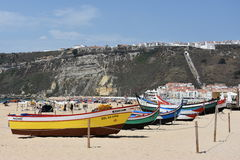 Beach at Nazare fishing village in Portugal Royalty Free Stock Photography