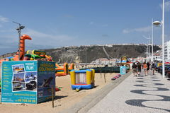 Beach at Nazare fishing village in Portugal Royalty Free Stock Photo