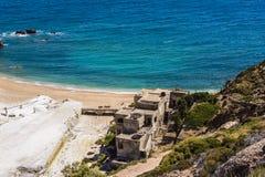 Beach near abandoned sulfur mines, Milos island, Cyclades, Greece Stock Photography