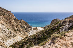 Beach near abandoned sulphur mines, Milos island, Cyclades, Greece royalty free stock photos