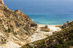 Beach near abandoned sulphur mines, Milos island, Cyclades, Greece royalty free stock photography