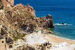 Beach near abandoned sulphur mines, Milos island, Cyclades, Greece Royalty Free Stock Photo