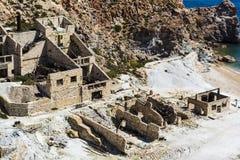 Beach near abandoned sulphur mines, Milos island, Cyclades, Greece Stock Images
