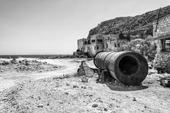 Beach near abandoned sulphur mines, Milos island, Cyclades, Greece Royalty Free Stock Images