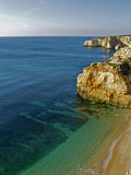 Beach near Carvoeiro, Algarve, Portugal. Royalty Free Stock Photo
