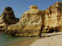 Beach near Carvoeiro, Algarve, Portugal. Stock Photos