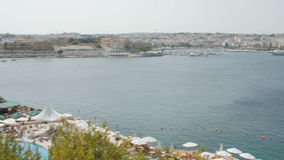 Beach near the harbor, Malta, Valletta stock video