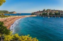 Beach near the island Sveti Stefan Stock Photos