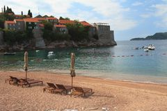 Beach near the island Sveti Stefan, Montenegro Royalty Free Stock Photography
