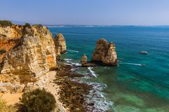 Beach near Lagos - Algarve Portugal royalty free stock photography