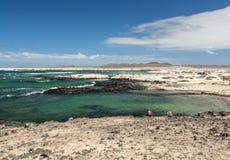 Beach near the lighthouse El Toston, northern part of Fuerteventura . Stock Image