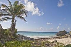 Beach near Mayan ruin in Tulum royalty free stock images