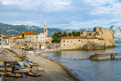 Beach near Old town of Budva in Montenegro in sunny day Royalty Free Stock Photos