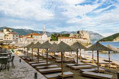 Beach near Old town of Budva in Montenegro in sunny day Stock Photo