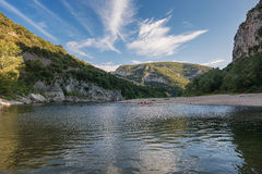 The beach near the Pont d'Arc. The beach near the Pont d'Arc, a large natural bridge, located in the Ardèche département in the south of Franc Royalty Free Stock Images