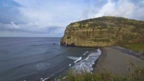 Beach near Ribeira Grande village, Sao Miguel, Azores islands, Portugal stock video footage