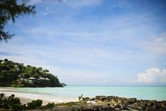 St. John`s in Antigua. Beach near St. John`s in Antigua in the Caribbean Sea Stock Images