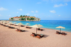 Beach near Sveti Stefan island in Montenegro Royalty Free Stock Images