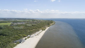 Beach, photo taken from the air, nearby Rockanje in The Netherlands. Beach and nature reserve Quackjeswater nearby Rockanje in the Southern part of South-Holland stock photography