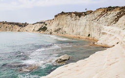 Beach nearby the white cliff called `Scala dei Turchi` in Sicily Royalty Free Stock Images