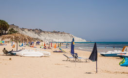 Beach nearby the white cliff called `Scala dei Turchi` in Sicily Royalty Free Stock Photo