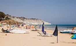 Beach nearby the white cliff called `Scala dei Turchi` in Sicily. Near Agrigento. Italy Royalty Free Stock Photo