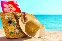 Beach necessities at the sunny beach Royalty Free Stock Images