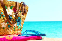 Beach necessities at the sunny beach Royalty Free Stock Photo