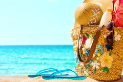 Beach necessities at the sunny beach. Beach necessities, at the sunny beach Stock Image