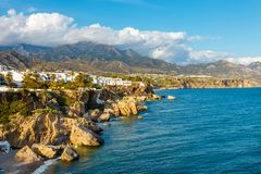 Beach in Nerja, Costa del Sol, Andalusia, Spain. View of beautiful beach in Nerja, Costa del Sol, Andalusia, Spain royalty free stock photography