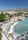 Beach At Nerja Southern Spain stock images
