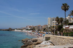 Beach in Nerja, Spain Stock Images