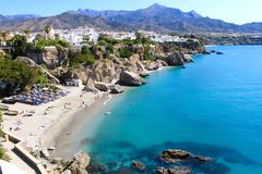 Beach in Nerja stock photography
