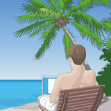 On the Beach, On the Net. Vector Illustration of a shirtless man sitting on the beach working on a laptop computer Stock Photos