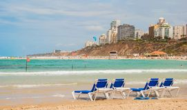 Beach in Netanya Stock Photos